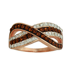 14K Rose Gold Over Silver Crystal Crossover Ring