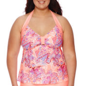 Arizona Floral Spirit Halterkini Swim Top - Juniors Plus