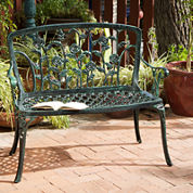 Saint Kitts Outdoor Cast Aluminum Patio Bench