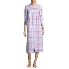 By Miss Elaine 3/4 Sleeve Seersucker Robe
