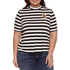 Ashley Nell Tipton for Boutique + Short Sleeve Mock Neck T-Shirt-Plus