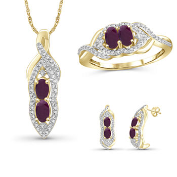 Diamond Accent Lead Glass filled Red Ruby 14k Gold Over Silver 3 pc Jewelry Set