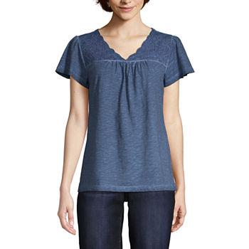 St John Bay womens V Neck Short Sleeve T shirt