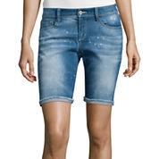 Arizona Low-Rise Raw-Cuff Denim Bermuda Shorts