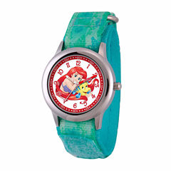 Disney The Little Mermaid Girls Green Strap Watch-Wds000049