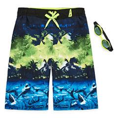 Zeroxposur Boys Shark Swim Trunks-Big Kid