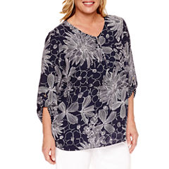 Alfred Dunner Seas The Day 3/4 Sleeve V Neck Woven Blouse-Plus