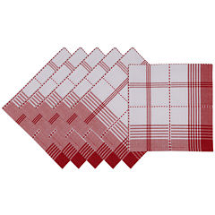 Design Imports Radish Plaid Set of 6 Napkins