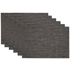 Design Imports Grey Tonal Tweed Set of 6 Placemats