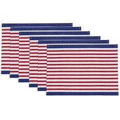 Design Imports Nautical Stripe Set of 6 Placemats