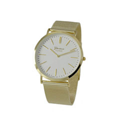 Geneva Platinum Womens Gold Tone Strap Watch-1513