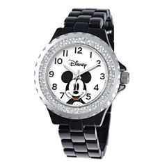 Disney Womens Mickey Mouse Black Enamel Sparkle Watch