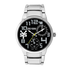 Zoo York® Mens Black And Silvertone Leather Strap Watch
