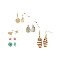 Capelli New York 6-pr. Flower Butterfly Owl Earring Set
