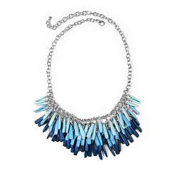 Studio By Carol Dauplaise Silver-Tone Blue Stick Fringe Bib Necklace
