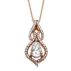 1/5 C.T. TW. Diamond 10K Rose Gold Pendant Necklace