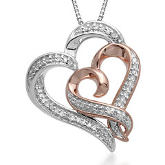 Hallmark Diamonds 1/4 CT. T.W. Diamond Sterling Silver Heart Pendant with 14K Rose Gold Accent