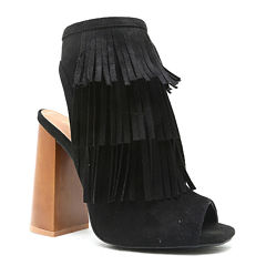 Qupid Boogie Open-Toe Fringe Booties