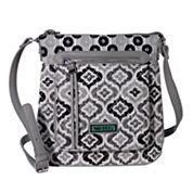Waverly Black White Ikat Quilted Medium Crossbody Bag