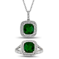Womens 2-pc. Green Emerald Sterling Silver Jewelry Set