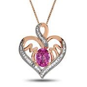 Womens Pink Sapphire Gold Over Silver Pendant Necklace