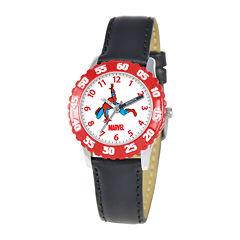 Marvel Spiderman Time Teacher Kids Black Leather Strap Watch