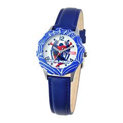 Marvel Spiderman Tween Blue Leather Strap Watch