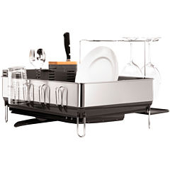 simplehuman® Steel Frame Dish Rack + Wine Glass Holder