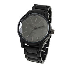 Geneva Platinum Womens Black Bracelet Watch-5965