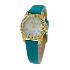Geneva Platinum Womens Blue Strap Watch-4660