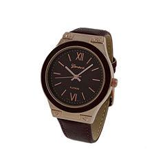 Geneva Platinum Womens Brown Strap Watch-10048
