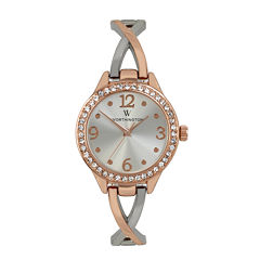 Worthington® Womens Crystal Accent Rose-Tone Bangle Watch