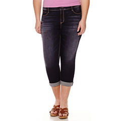 Arizona Roll-Cuff Denim Cropped Pants - Juniors Plus
