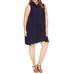 Sharagano Sleeveless Button Front Shirt Dress-Plus