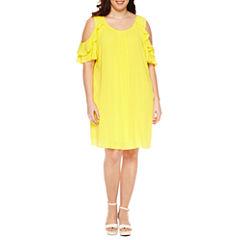 Alyx Short Sleeve Cold Shoulder Ruffle Sheath Dress-Plus