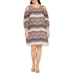 Luxology 3/4 Sleeve Cold Shoulder Sheath Dress-Plus