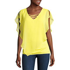 Alyx Short Sleeve V Neck Chiffon Blouse