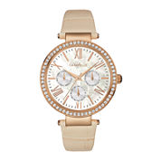 Caravelle New York® Womens Crystal-Accent Tan Leather Strap Watch 44N105
