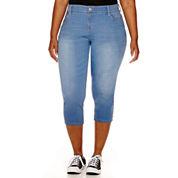 Arizona Cutoff Hem Cropped Jeans - Juniors Plus