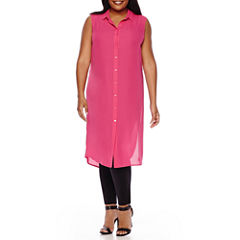Boutique+ Long Line Shirt Dress, Essential V-Neck Camisole or Cropped Legging - Plus
