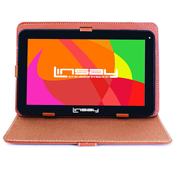 Linsay New 101 Quad Core 1024x600hd 16gb Android 60 Tablet With Brown Leather Protective Case