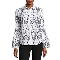 Worthington Long Sleeve Button-Front Shirt