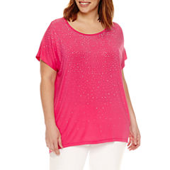 Liz Claiborne Short Sleeve Scoop Neck T-Shirt-Plus