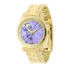 Disney Tinker Bell Womens Gold-Tone Stainless Steel Bracelet Watch