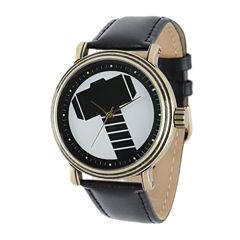 Marvel® Vintage Thor Mens Black Leather Strap Watch