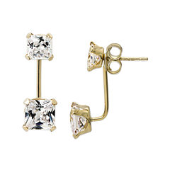 Princess-Cut Cubic Zirconia 14K Yellow Gold Front-To-Back Stud Earrings