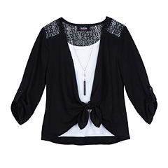 by&by Girls 3/4 Sleeve Tie-Front Top - Girls 7-16