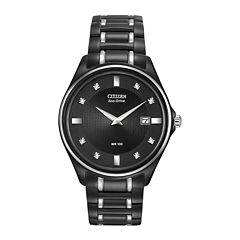 Citizen® Eco-Drive® Mens Diamond-Accent Black Stainless Steel Watch AU1054-54G