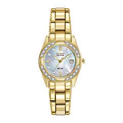 Citizen® Eco-Drive® Womens Diamond-Accent Gold-Tone Bracelet Watch EW1822-52D