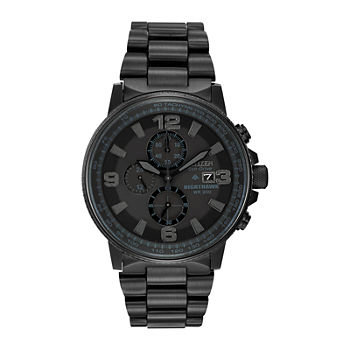 Citizen Nighthawk Mens Chronograph Black Stainless Steel Bracelet Watch ca0295 58e